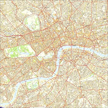 Large Central London Street Map 100 x 100 cm Paper Laminated