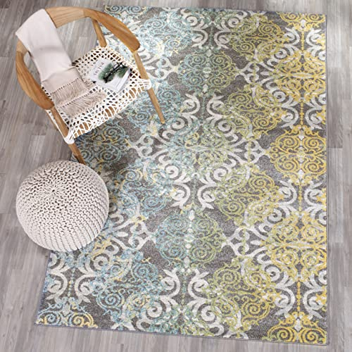 Safavieh Evoke Collection EVK230D Vintage Medallion Damask Grey and Ivory Area Rug 8' x 10'
