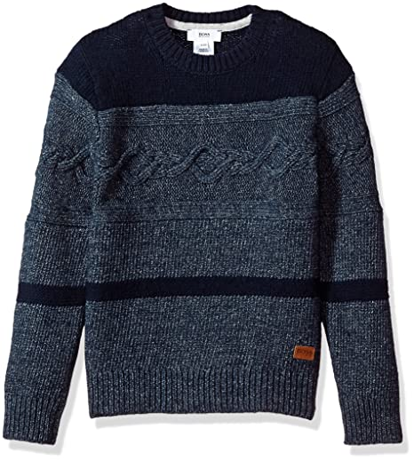 43bcbe9a0f1e Amazon.com  Hugo Boss Boys  Knitted Sweater with Leather Label  Clothing