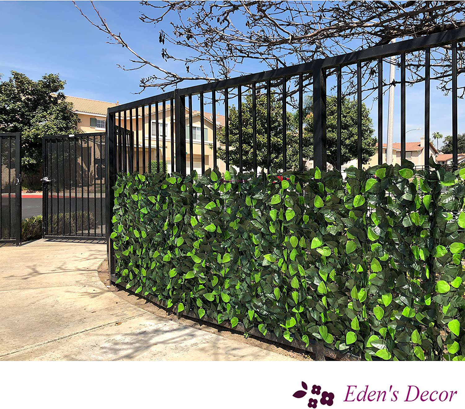 """Natural Looking Artificial 120/""""X40/"""" Faux Ivy Leaf Privacy Trellis Fence Screen"""