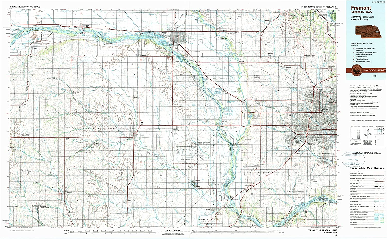 Amazon Com Yellowmaps Fremont Ne Topo Map 1 100000 Scale 30 X 60
