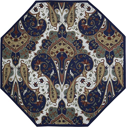 Structure Paisley Wave Octagon Rug, 6 x 6 , Blue