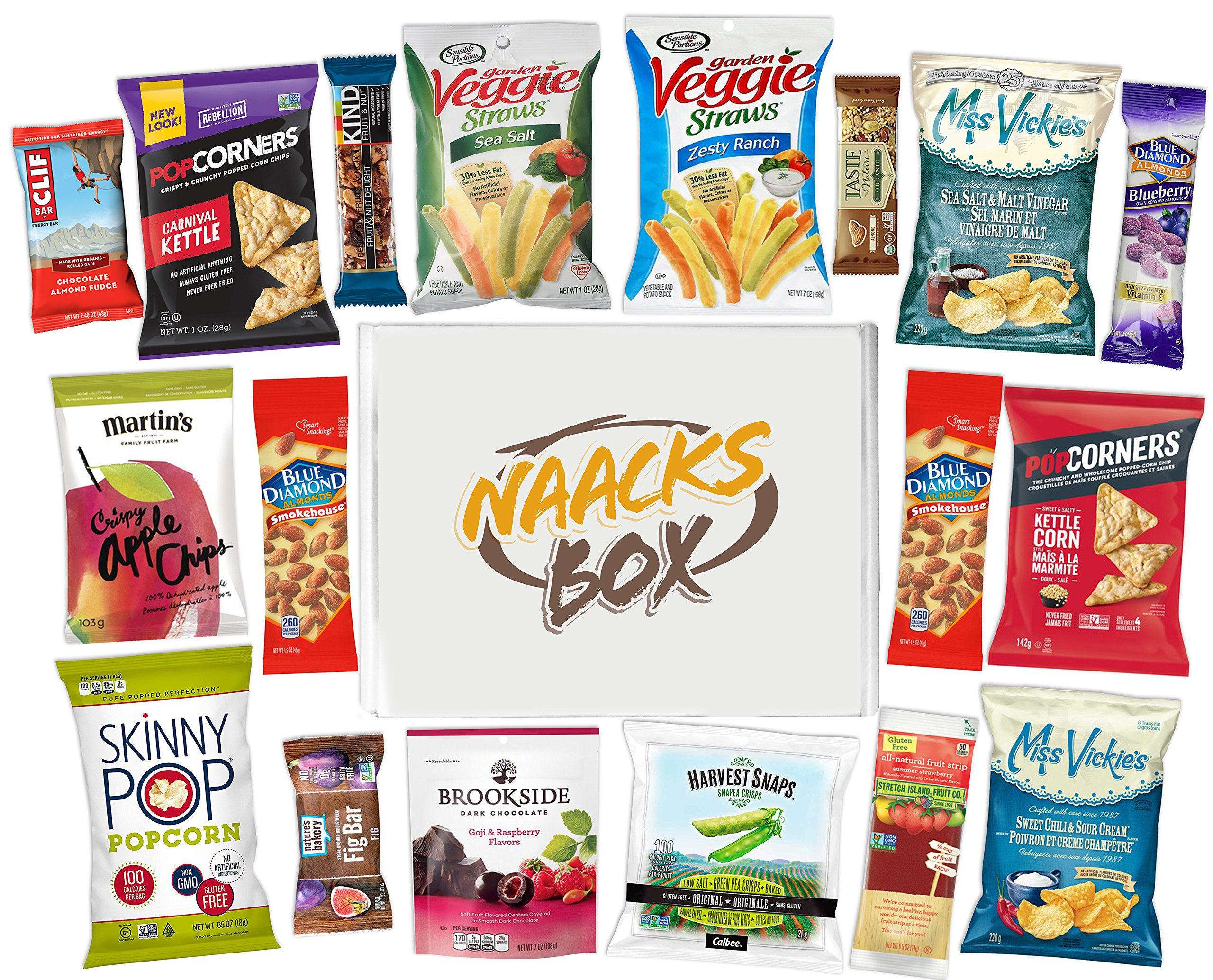 CDM product Kosher Healthy Snacks Care Package | Sweet & Nutritious Bars, Nuts, Potato Chips, Veggie Straws & Others | for School, Adults, Work, Parties & Diet (20 Count) big image