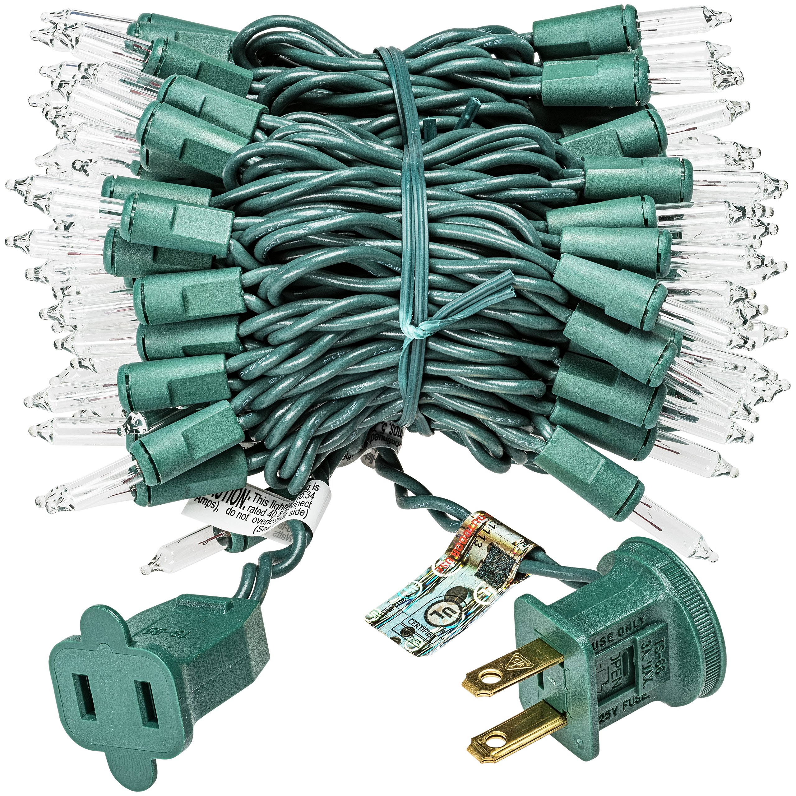 Prextex 100-Count Clear Green Wire Christmas Light Set Christmas Decorations by Prextex (Image #2)