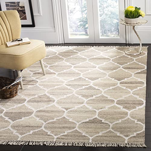Safavieh Natural Kilim Collection NKM317A Flatweave Light Grey and Ivory Wool Area Rug 6 x 9