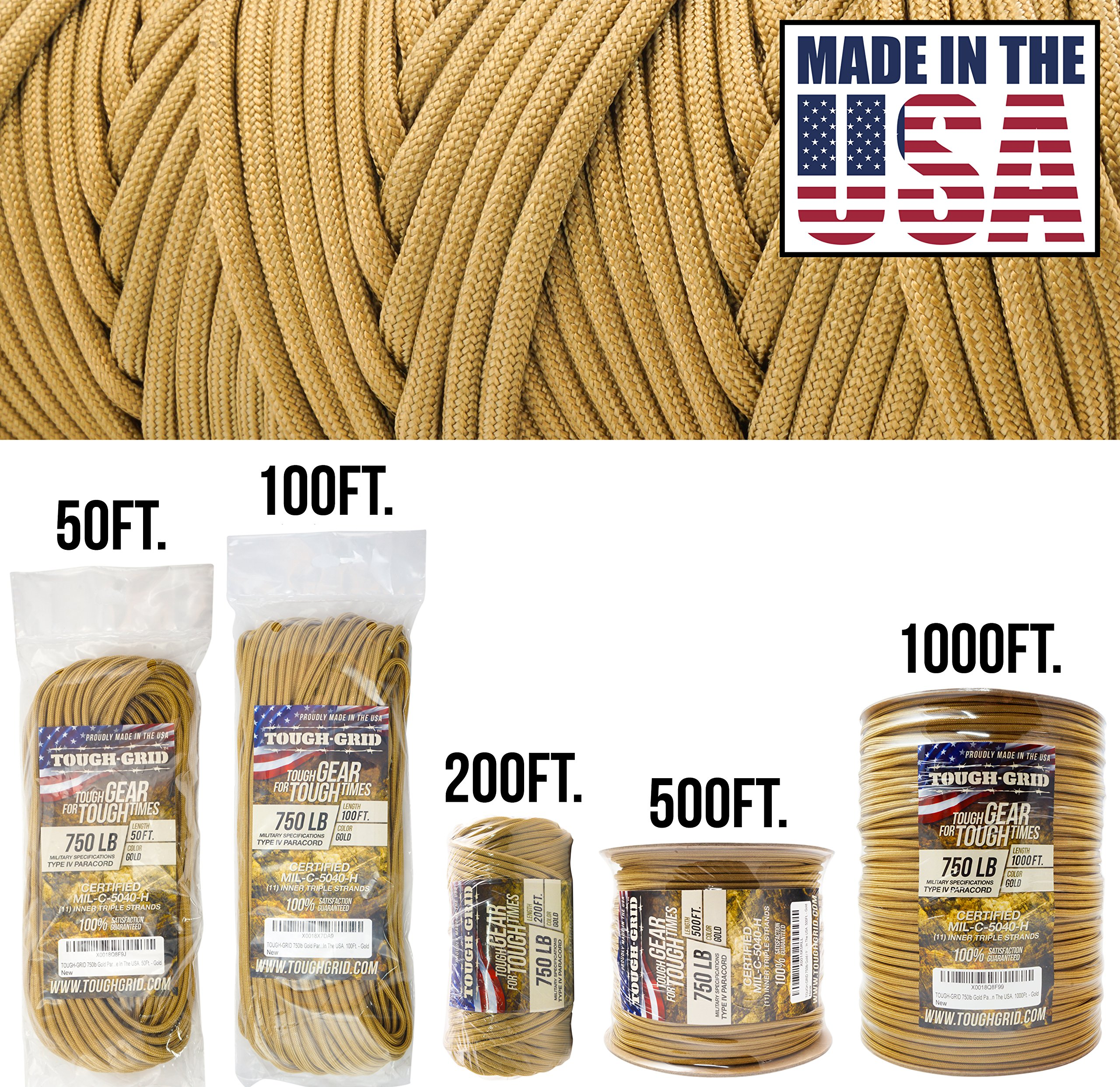 TOUGH-GRID 750lb Gold Paracord/Parachute Cord - Genuine Mil Spec Type IV 750lb Paracord Used by The US Military (MIl-C-5040-H) - 100% Nylon - Made in The USA. 200Ft. - Gold by TOUGH-GRID