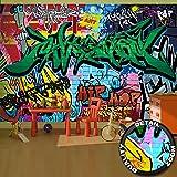 great-art Fototapete Street Style Graffiti Schriftzüge - 336 x 238 cm 8-teiliges Wandbild Tapete Wandtapete