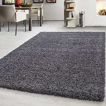 Hochflor Shaggy Teppich Wohnzimmer 3 cm Florhöhe einfarbig Teppiche mit  OKOTEX, Maße:60 cm x 110 cm, Farbe:Grau