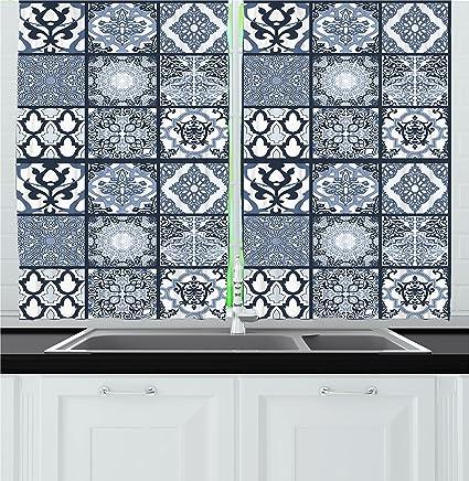 Amazon Com Ambesonne Ethnic Kitchen Curtains Antique