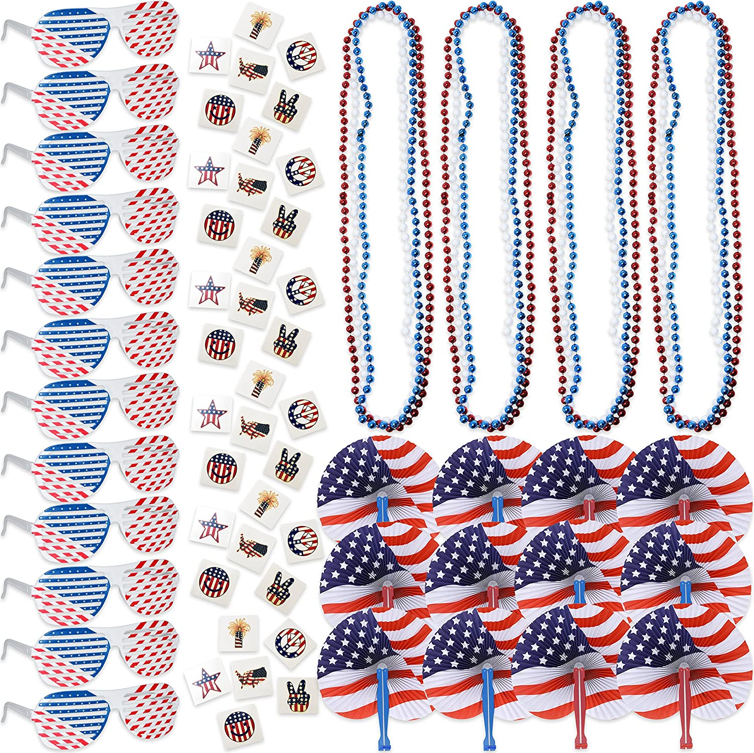 108 4th of July Patriotic American Flag Party Favors Bulk Includes 12 USA Shutter Shade Sunglasses 72 Fourth of July Temporary Tattoos 12 Red Blue and White Bead Necklaces and 12 American Folding Fans