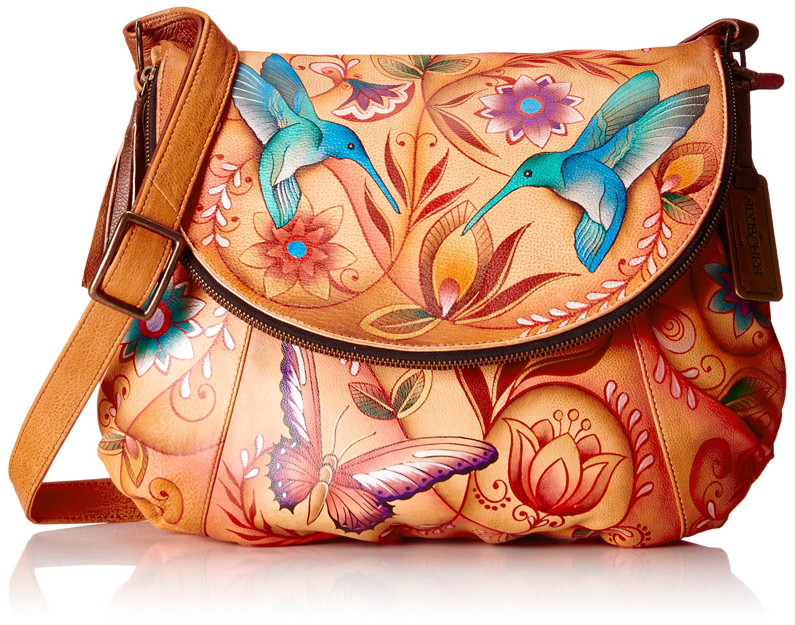 Anuschka Large Flap-Over Convertible FJWT, Flying Jewels Tan, One Size