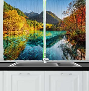 "Ambesonne Landscape Kitchen Curtains, Colorful View of 5 Flower Lake with Azure Water Among Fall Woods in Jiuzhaigou, Window Drapes 2 Panel Set for Kitchen Cafe Decor, 55"" X 39"", Blue Green"