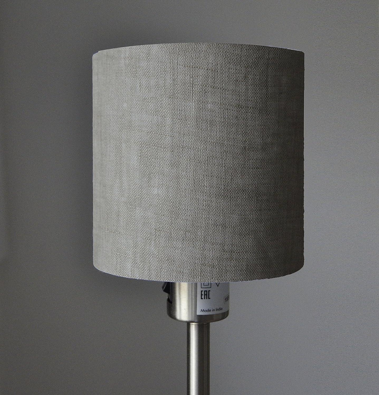 Lampenschirm handgemacht 14 cm Durchmesser aus Leinen //Grau