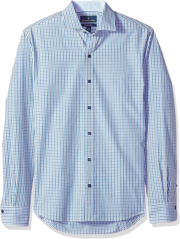 Amazon Brand - BUTTONED DOWN Men's Slim Fit Spread-Collar Supima Cotton Dress Casual Shirt