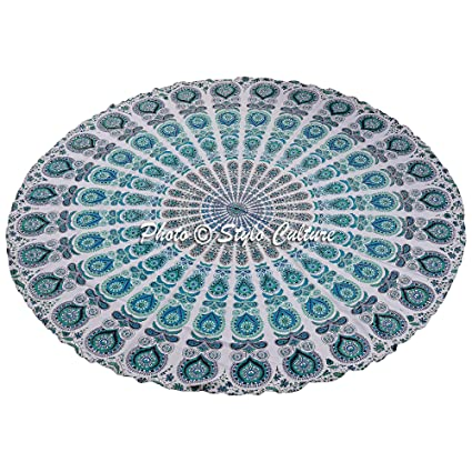Amazon.com: Stylo Culture Indian Mandala Roundie Green ...