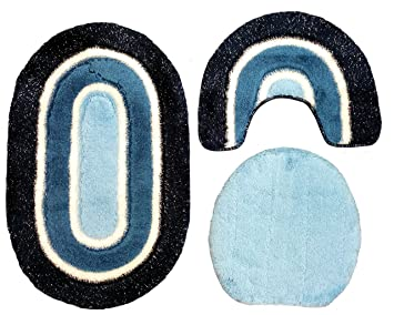 Badgarnitur 3 tlg. set 80 x 50 cm oval dunkelblau blau weiß mit