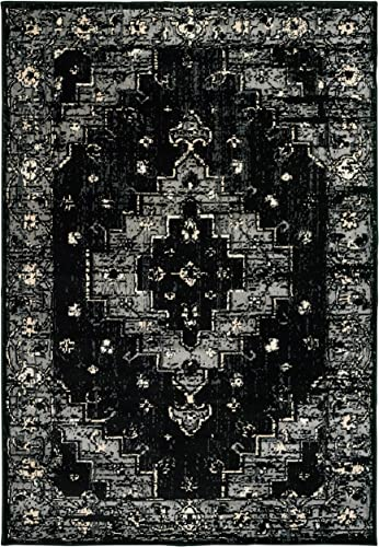 LR Home Infinity Area Rug, 7 9 x 9 5 , Black Gray