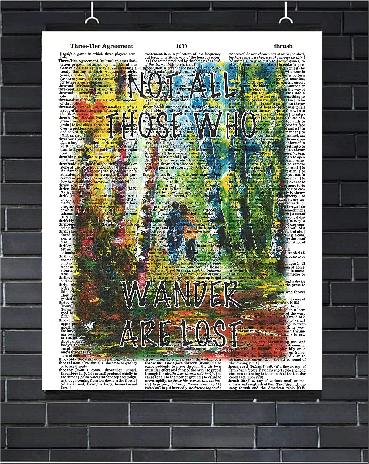 Not All Those Who Wander are Lost Wall Art Inspirational Wall Decor JRR Tolkein Quote Print Literary Poster Inspirational Dictionary Art Print