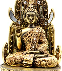 11 Inches Large Brass Color Golden Gautam Buddha Idol |Tibet Buddha Meditating Religious Statue Home Decor Decoration Figurines - by Crystal Collection