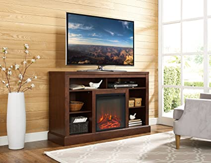 WE Furniture 52quot Fireplace Tall TV Console With Open Storage