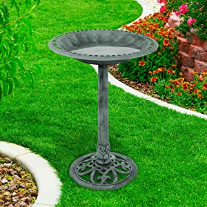 Pure Garden 50-LG1072 Antique Bird Bath-Weather Resistant Resin Birdbath with Vintage Scroll Design, 3 Ground Stakes for Garden,Outdoor Decor (Patina Green)