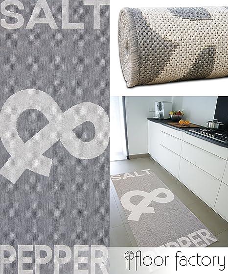 floor factory Tapis de Cuisine Salt&Pepper Gris 80x200 cm - Tapis de  Couloir Pas Cher