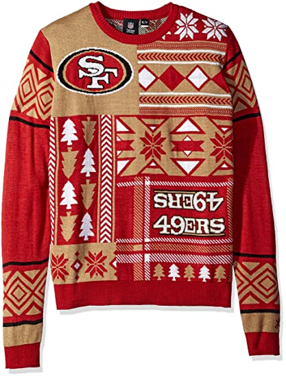 Amazon.com   San Francisco 49ers Patches Ugly Crew Neck Sweater ... 7475968c5f63