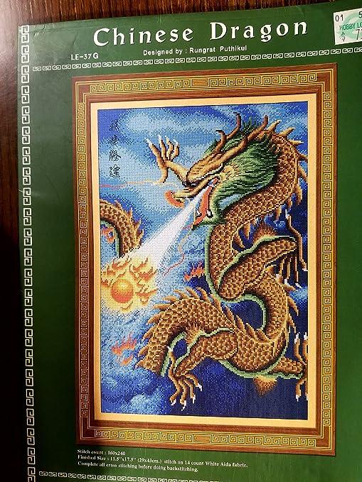 Dragón chino – Patrón de punto de cruz: Amazon.es: Juguetes y juegos