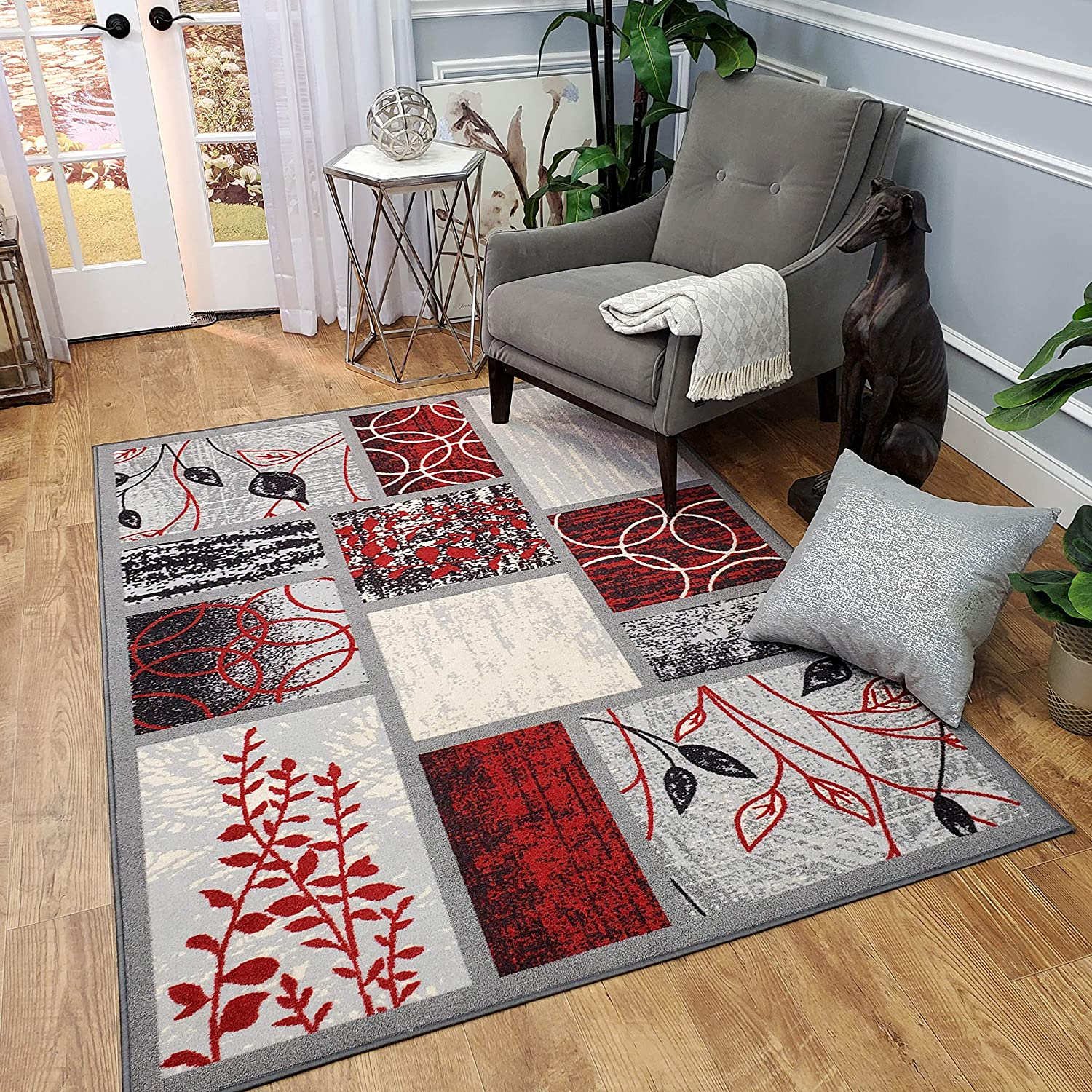 Area Rug 3x5 Red Grey Geometric Rubber Backed Non Slip for Any Room, Kitchen Rugs and Mats, Washable, Made in Europe