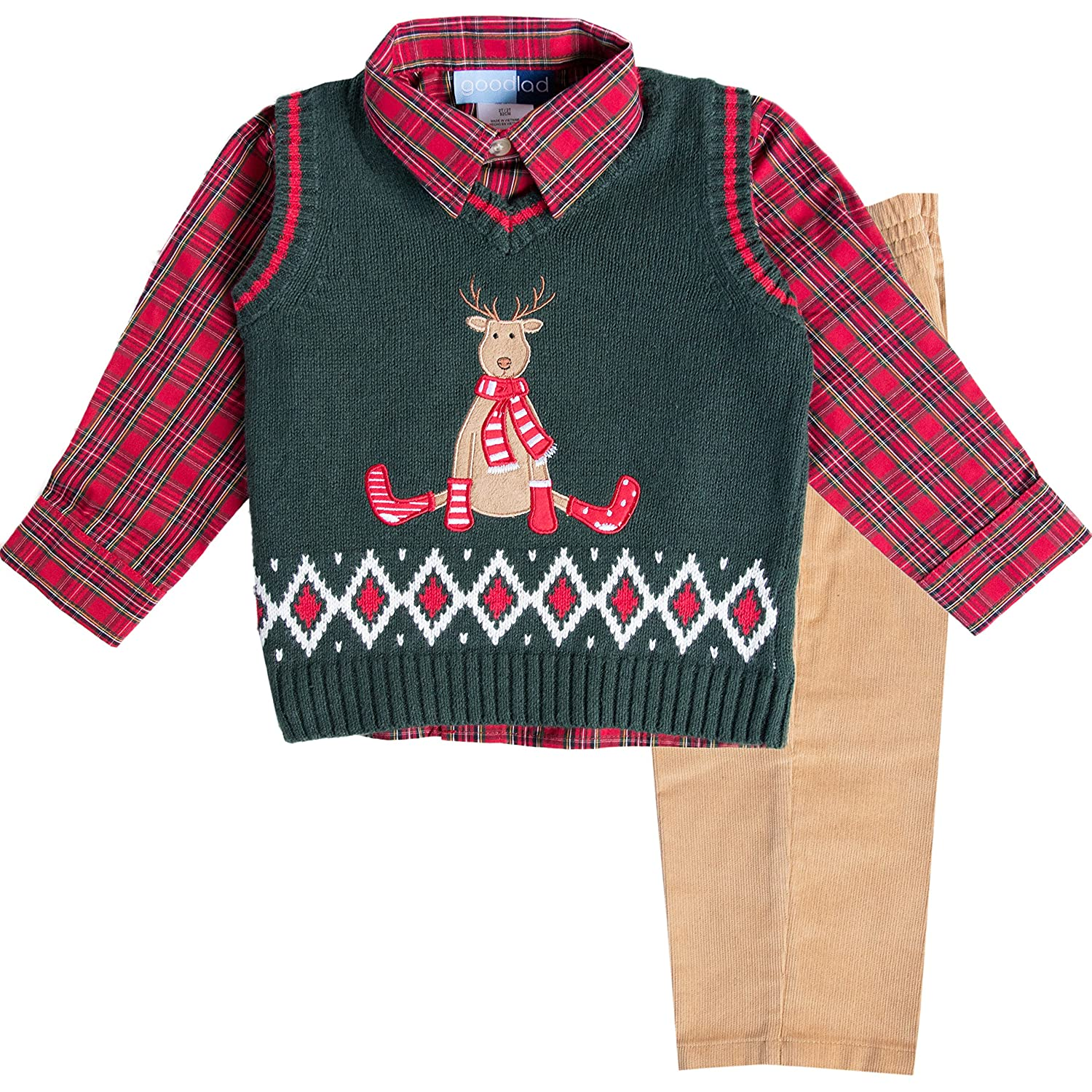 4a32750a109 Amazon.com  Good Lad Infant Boys Three Piece Green Reindeer Appliqued  Sweater Vest  Clothing