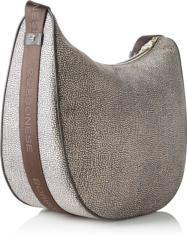 Borbonese Luna Bag Medium, Borsa a spalla Donna, 35x38x15 cm (W x H x L) Marrone (Op Classico/Marrone)