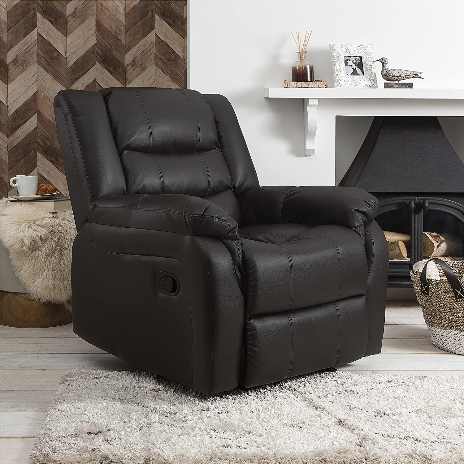 Laura James Bonded Leather Recliner Armchair | Home Lounge Reclining Chair | Cinema & Gaming | Black AGTC Ltd.