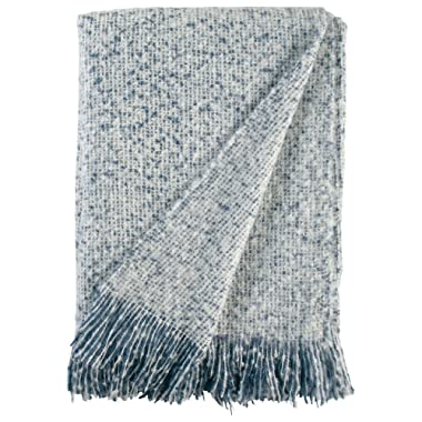 Stone & Beam Oversized Stripe Brushed Weave Throw Blanket, 60 x 80 , Indigo, White