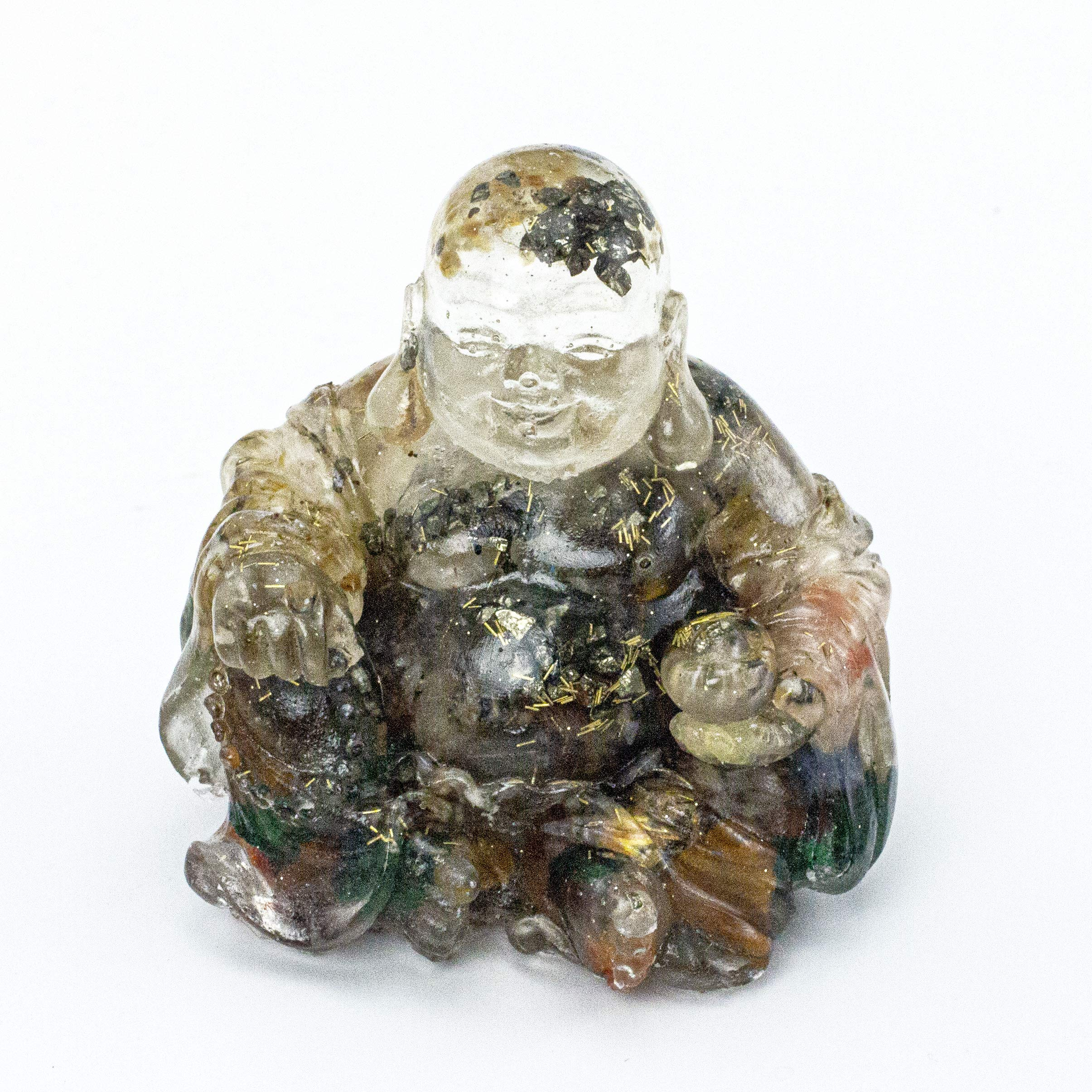 Energy Filled Crystal Laughing Buddha Resin and Embedded Crystals Manifestation Metaphysical Properties #87