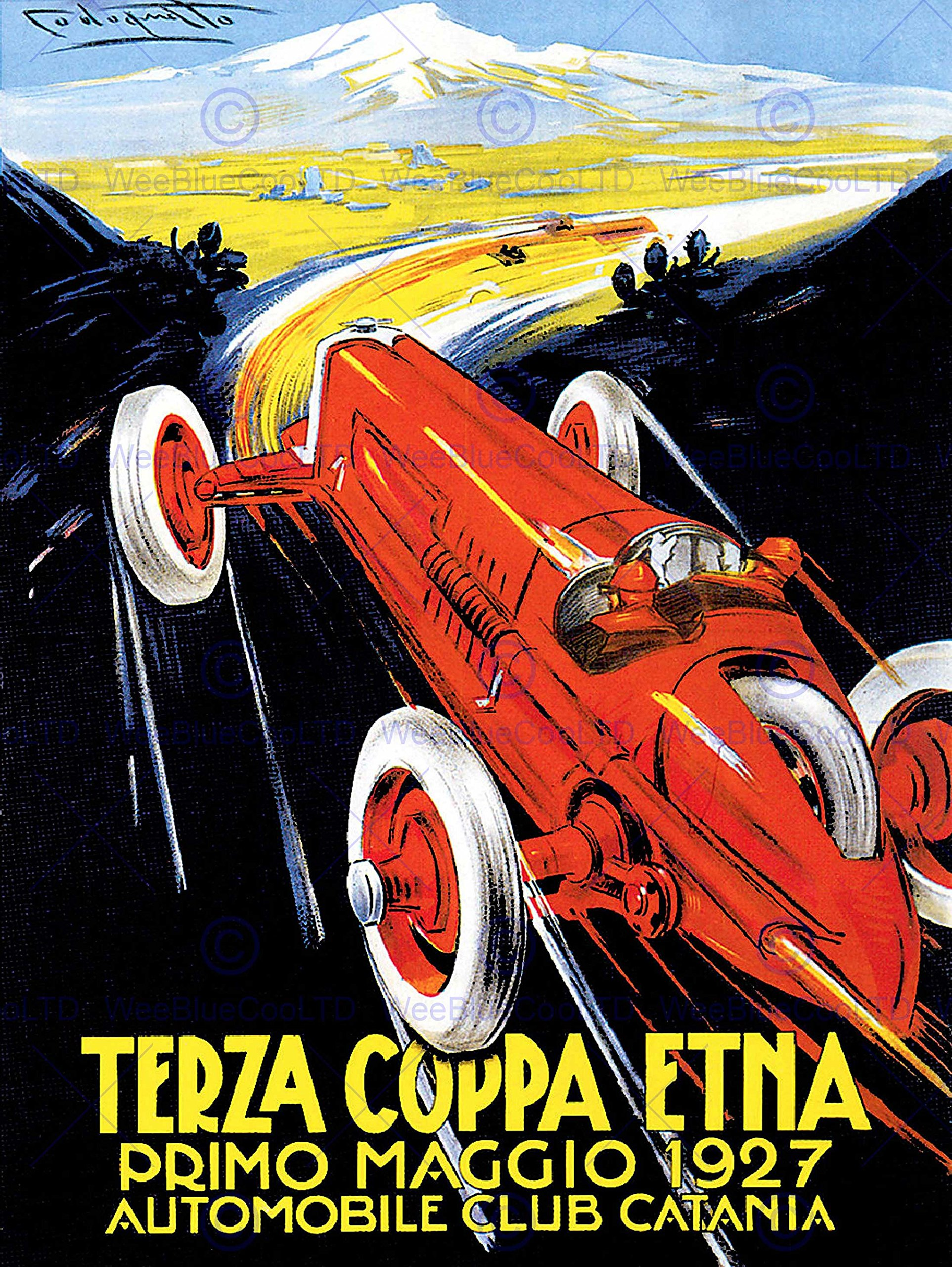 EXHIBITION SPORT MOTOR RACING CATANIA ITALY ETNA VINTAGE POSTER ART PRINT 12x16 inch 30x40cm 856PY