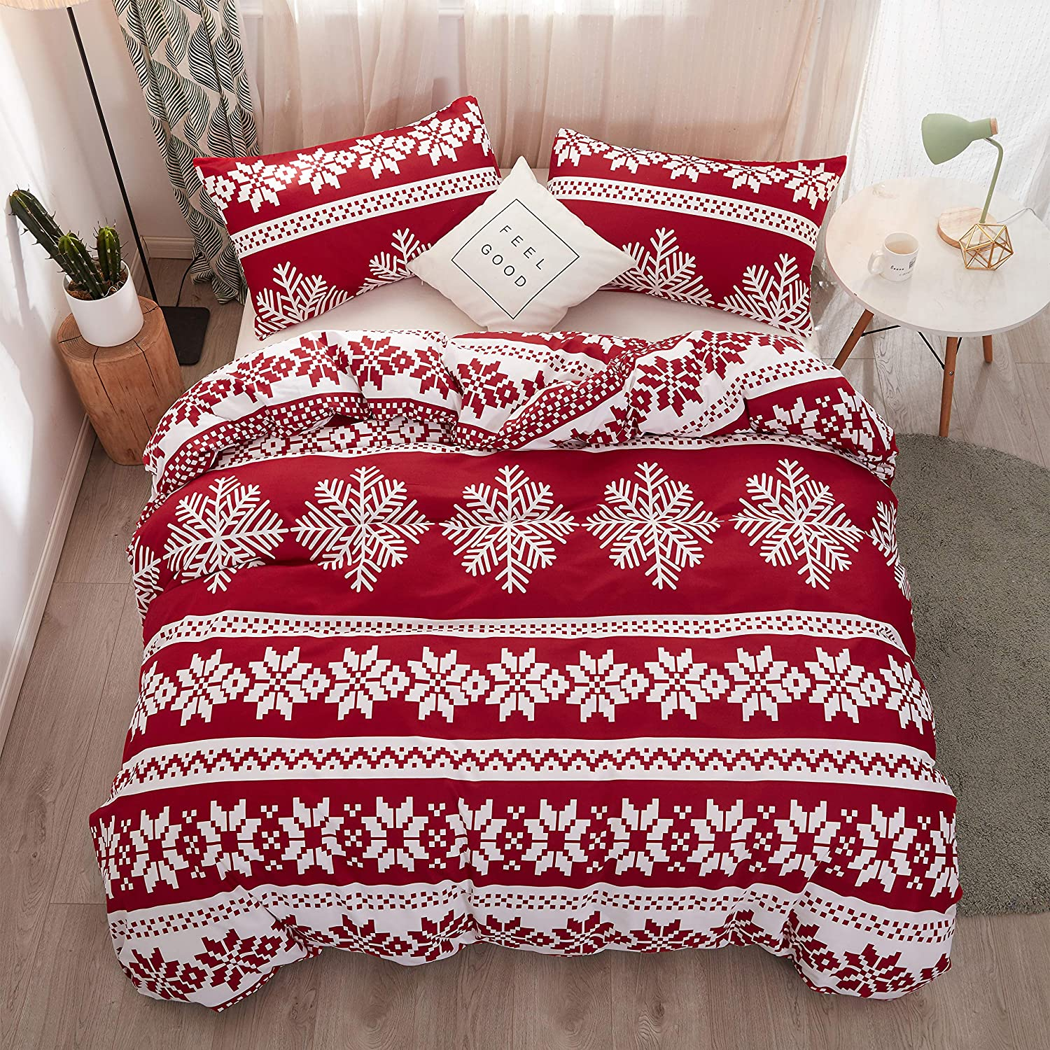 Holiday Bedding Set Comforter Cover(1 Duvet Cover+2 Pillowcases) Red