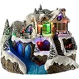 WeRChristmas pre-lit LED Christmas House scene con girante pattinaggio per bambini, 22cm–multicolore