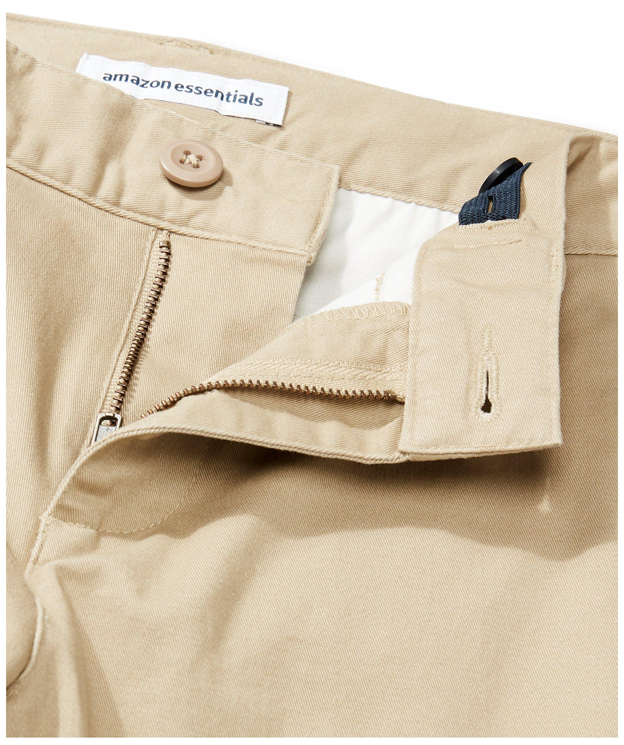 Amazon Essentials Boys' Straight Leg Flat Front Uniform Chino Pant, Khaki,10 by Amazon Essentials (Image #4)