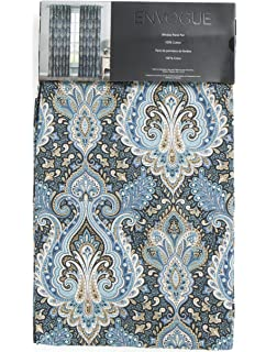 Envogue Peacock Damask Window Panels 50 By 96 Inch Set Of 2 Curtains Hidden