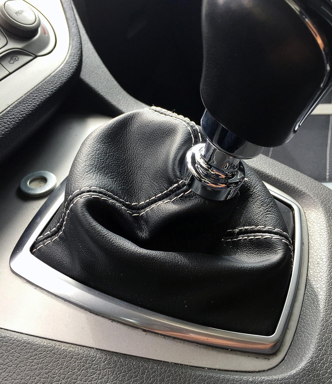 Cuffia cambio Ford Kuga in vera pelle nera e cuciture grigie - NO PARTI PLASTICHE