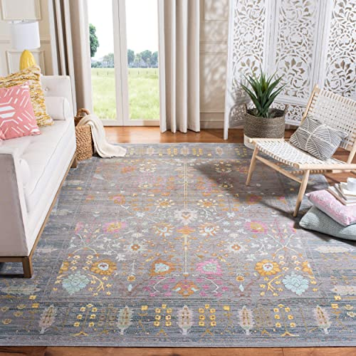 Safavieh Valencia Collection VAL108C Grey and Multi Vintage Distressed Silky Polyester Area Rug 9 x 12