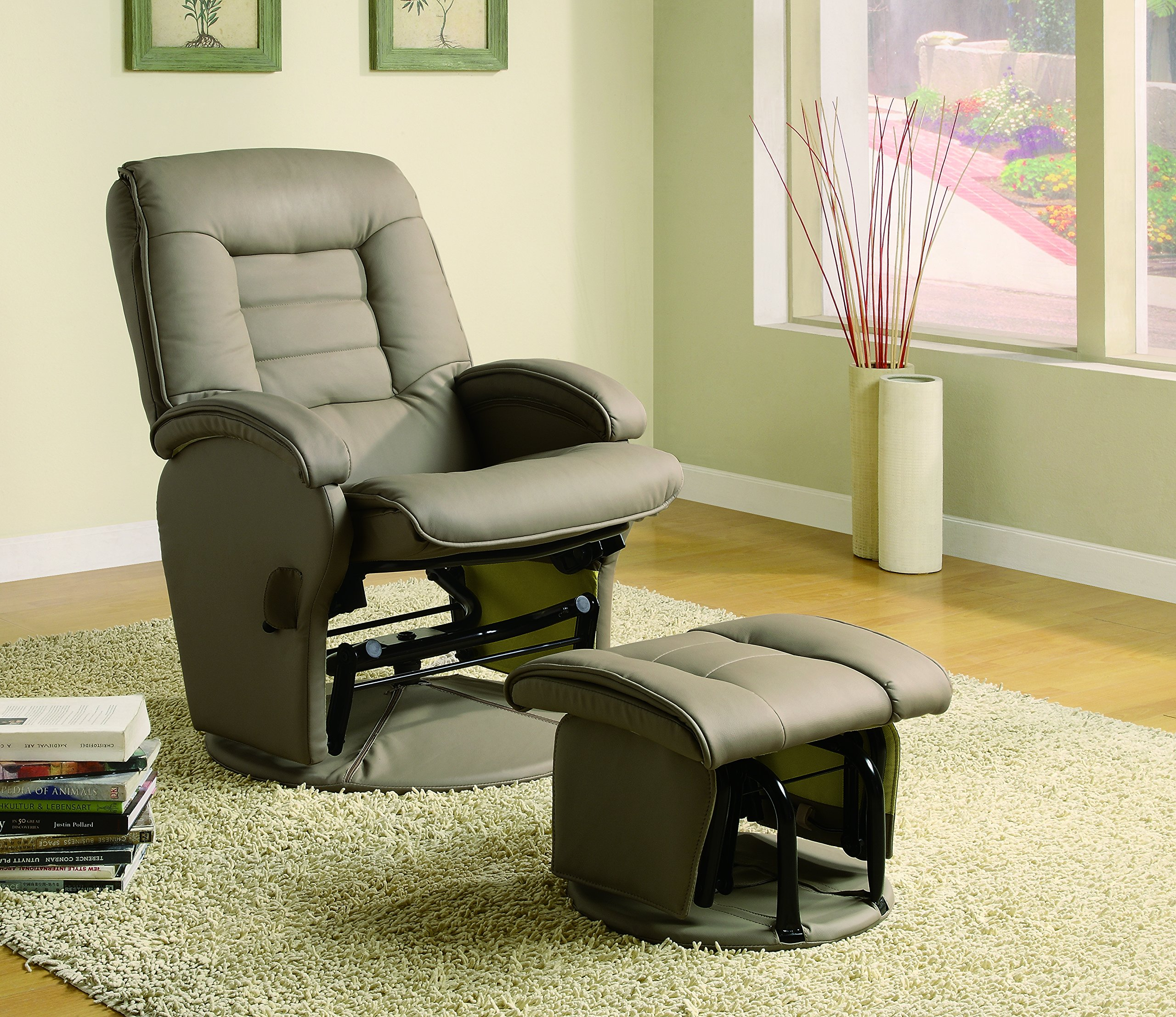 Leather Like Vinyl Glider Recliner with Matching Ottoman Bone
