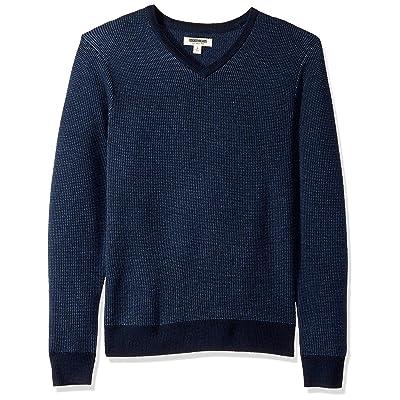 Brand - Goodthreads Men's Lightweight Merino Wool V-Neck Birdseye Sweater: Clothing