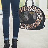 Cat Carrier Soft Sided Easy Loading Cat Carrier Bag - Sturdy and Folds Flat. Pet Carriers for Cats - Large Cats and Small Dogs - Leopard Cat Carrier by Parent Geniuses
