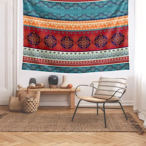 Amazon Com Kb Me Boho Chic Bohemian Teal Blue Red Orange Mandala Decorative Wall Tapestry Large Art Hanging Tapestries Bedroom Living Room Decor Aesthetic Cool Indian Indie Ethnic Colorful Hippie Trippy Dorm