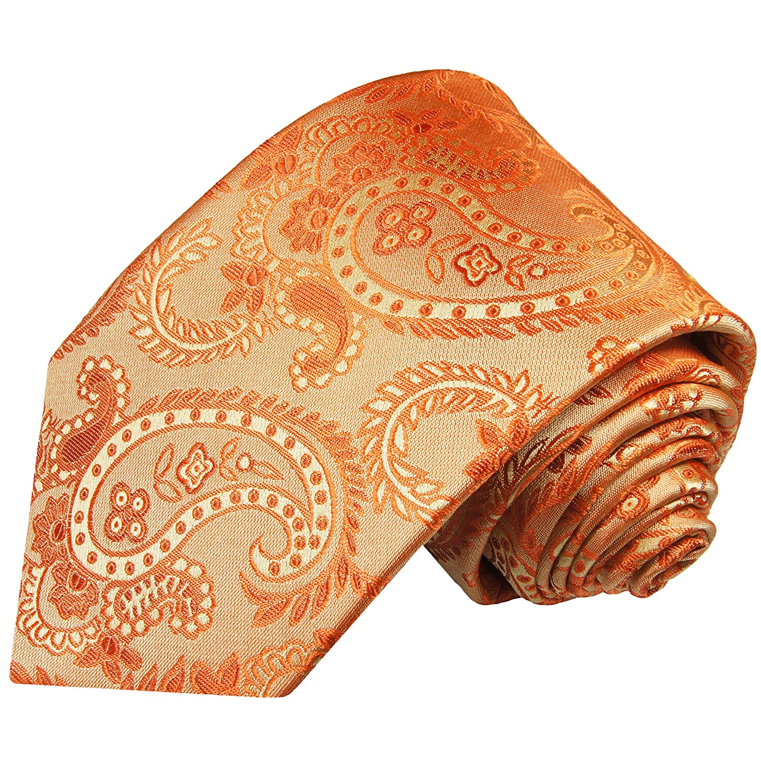 - Paul Malone Paisley Necktie 100% gold orange