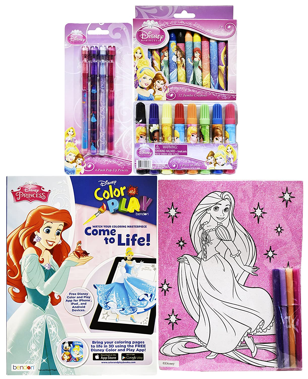 Amazon.com: Disney Princess Art Set! Color and Play! Crayons ...