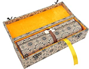 SJ023 Hmayart Blank Hand Scroll with Silk Brocade Box/Event Or Wedding Guest Book (22 x 330 cm/8.66 x 130 inch) (SJ023_us)