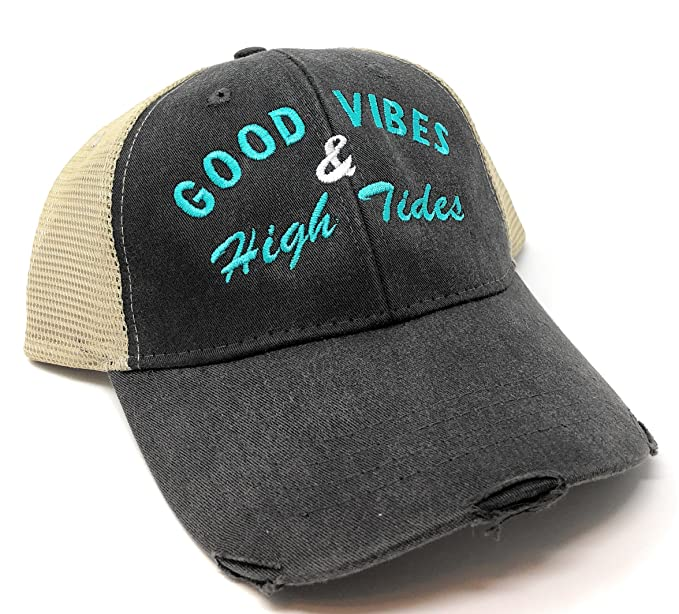 Image Unavailable. Image not available for. Color  Custom Monogrammed Good  Vibes   High Tides Distressed Trucker Hat 45c00fbdd86