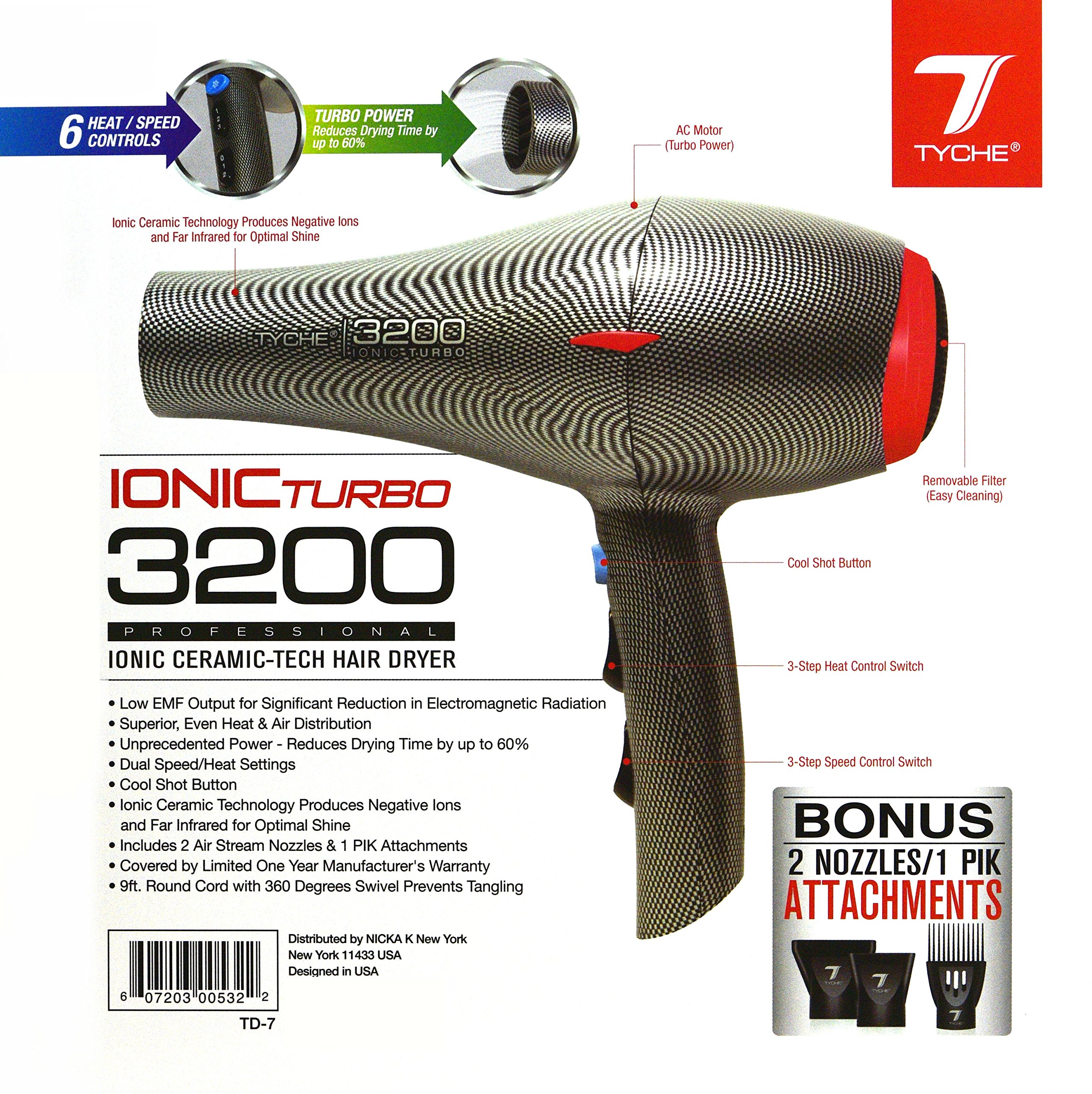 Tyche Turbo 3200 Professional Ionic Ceramic Tech Hair Dryer (1 Year Warranty) Dries Hair Fast, Negative Ions, Infrared, Hair Shine, Electromagnetic, Radiation, Heat & Air Distribution, Superor Power, by Tyche (Image #1)